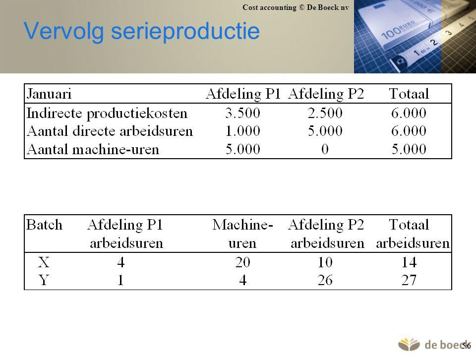 Cost accounting © De Boeck nv 56 Vervolg serieproductie