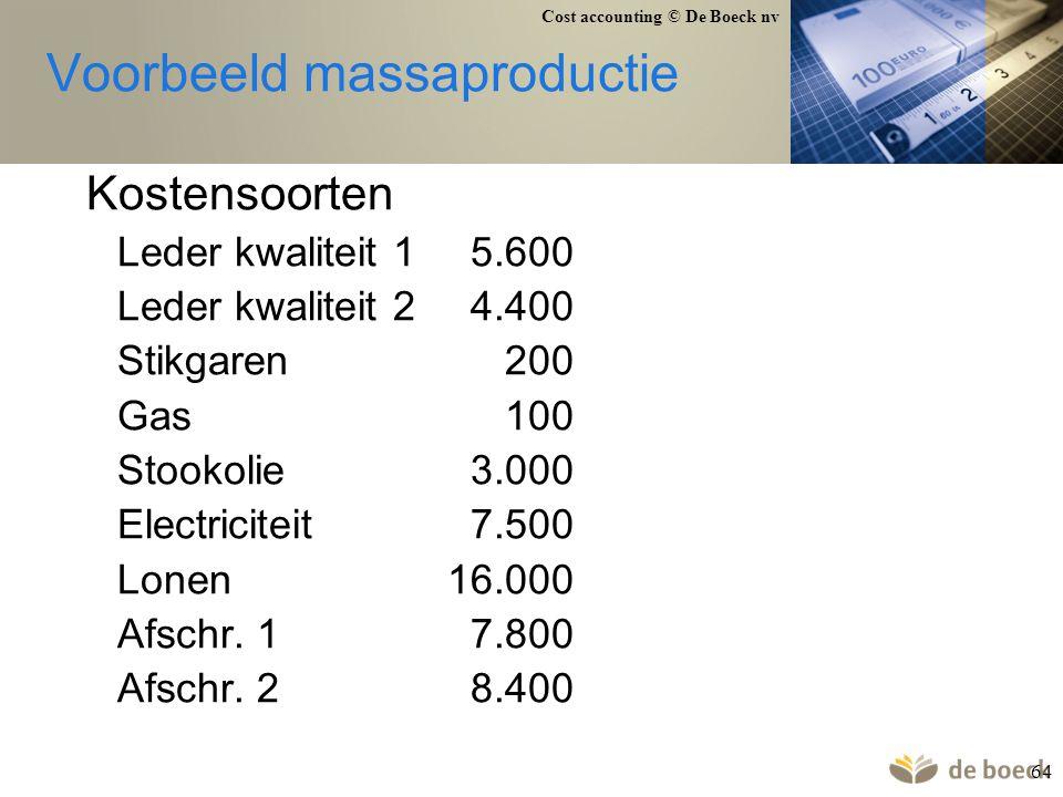 Cost accounting © De Boeck nv 64 Voorbeeld massaproductie Kostensoorten Leder kwaliteit 1 5.600 Leder kwaliteit 2 4.400 Stikgaren 200 Gas 100 Stookoli