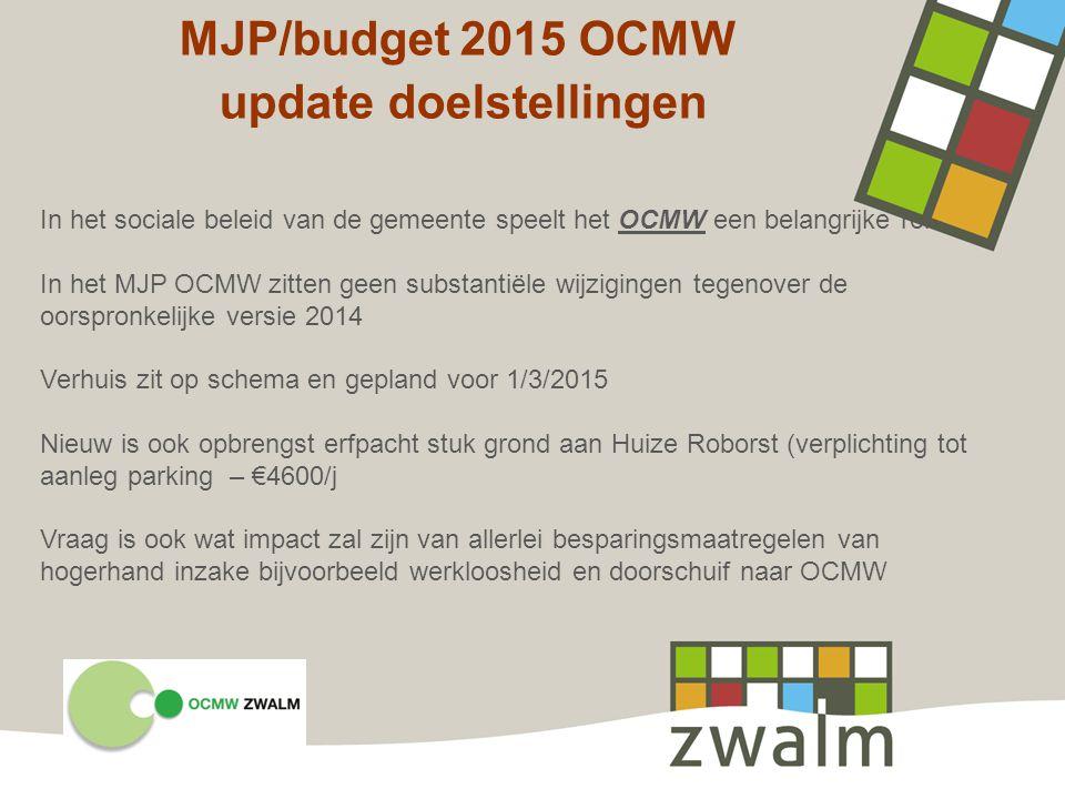 MJP/budget 2015 OCMW update doelstellingen In het sociale beleid van de gemeente speelt het OCMW een belangrijke rol. In het MJP OCMW zitten geen subs
