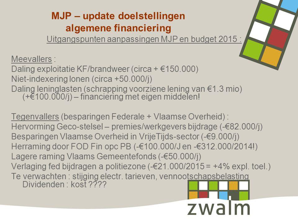 MJP – update doelstellingen algemene financiering Uitgangspunten aanpassingen MJP en budget 2015 : Meevallers : Daling exploitatie KF/brandweer (circa + €150.000) Niet-indexering lonen (circa +50.000/j) Daling leninglasten (schrapping voorziene lening van €1.3 mio) (+€100.000/j) – financiering met eigen middelen.