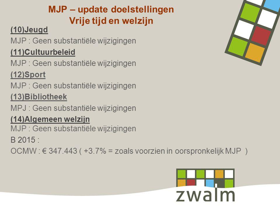 MJP – update doelstellingen Vrije tijd en welzijn (10)Jeugd MJP : Geen substantiële wijzigingen (11)Cultuurbeleid MJP : Geen substantiële wijzigingen