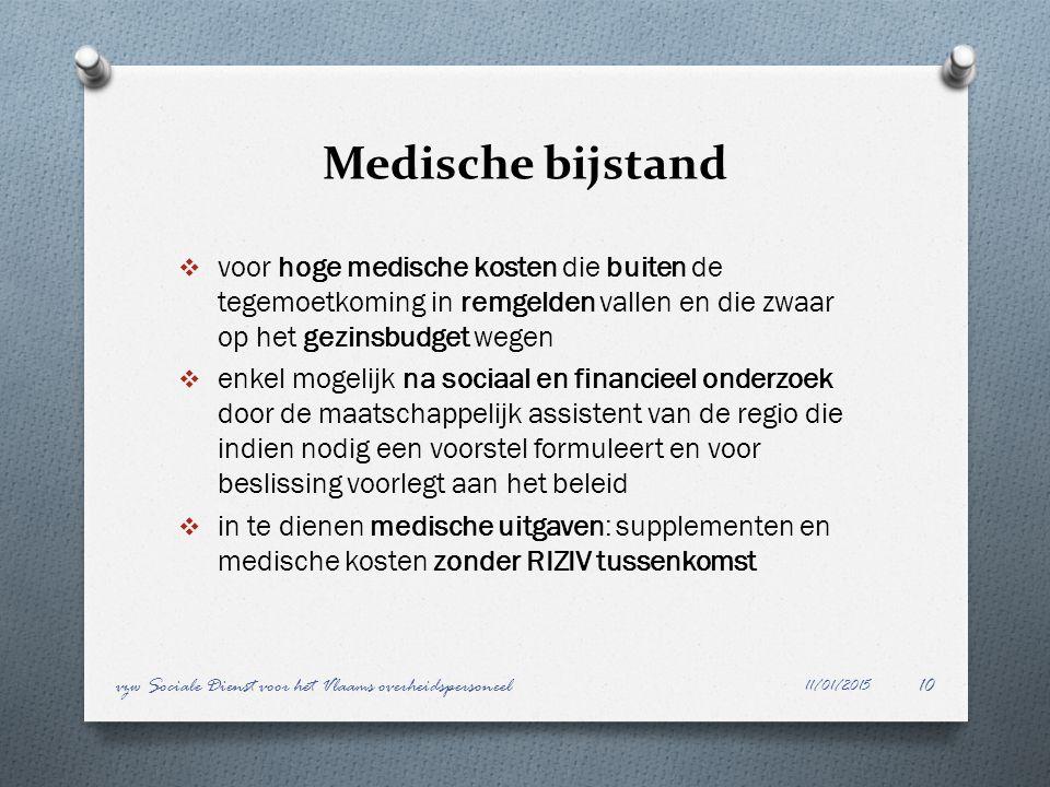 Medische bijstand  voor hoge medische kosten die buiten de tegemoetkoming in remgelden vallen en die zwaar op het gezinsbudget wegen  enkel mogelijk