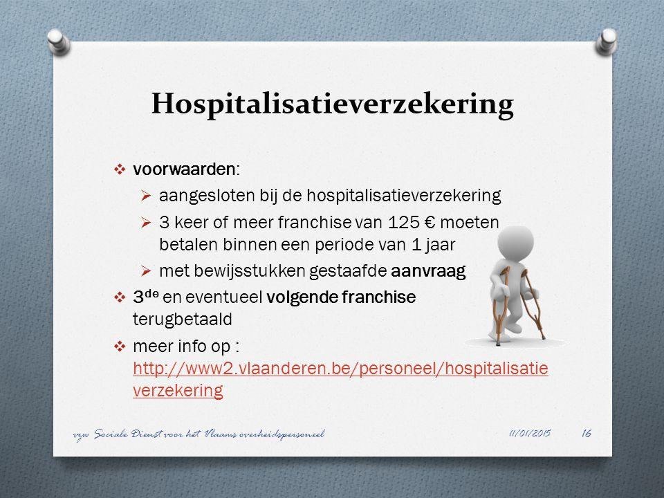 Hospitalisatieverzekering  voorwaarden:  aangesloten bij de hospitalisatieverzekering  3 keer of meer franchise van 125 € moeten betalen binnen een