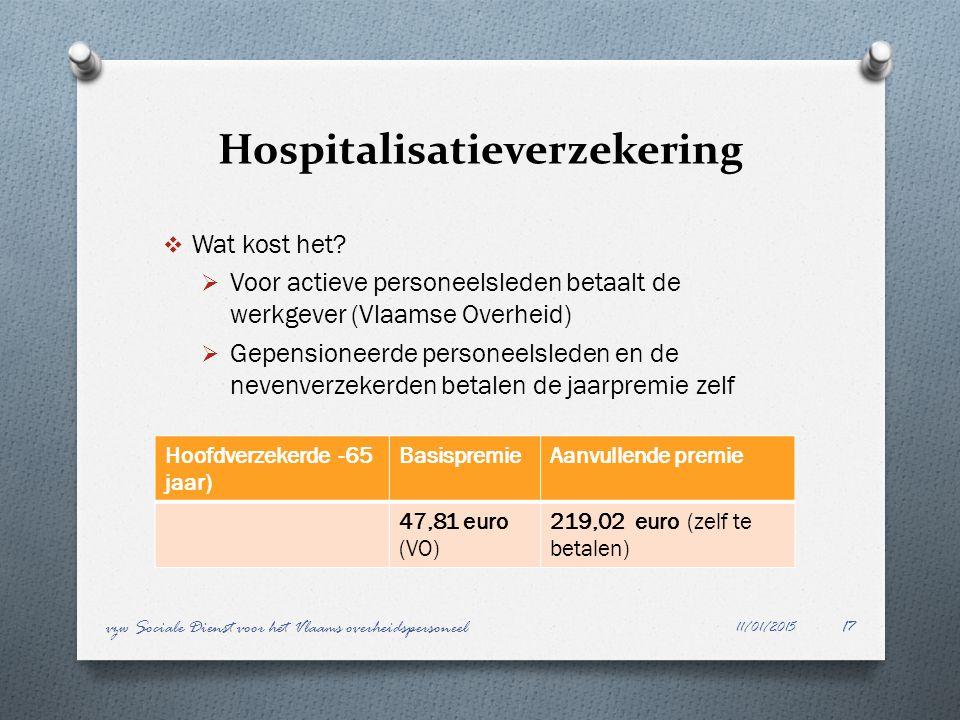 Hospitalisatieverzekering  Wat kost het?  Voor actieve personeelsleden betaalt de werkgever (Vlaamse Overheid)  Gepensioneerde personeelsleden en d
