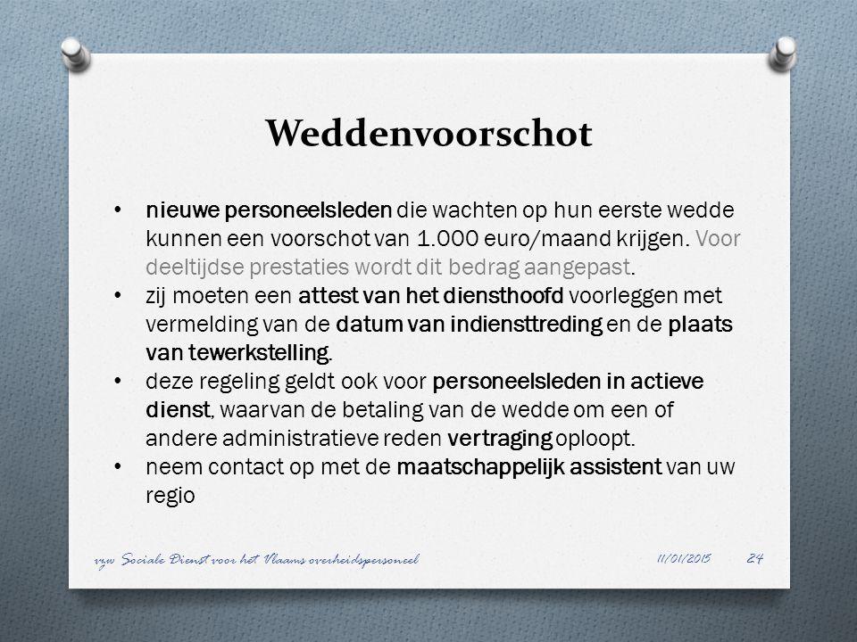 Weddenvoorschot 11/01/2015 vzw Sociale Dienst voor het Vlaams overheidspersoneel24 nieuwe personeelsleden die wachten op hun eerste wedde kunnen een v