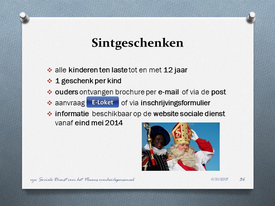 Sintgeschenken  alle kinderen ten laste tot en met 12 jaar  1 geschenk per kind  ouders ontvangen brochure per e-mail of via de post  aanvraag of