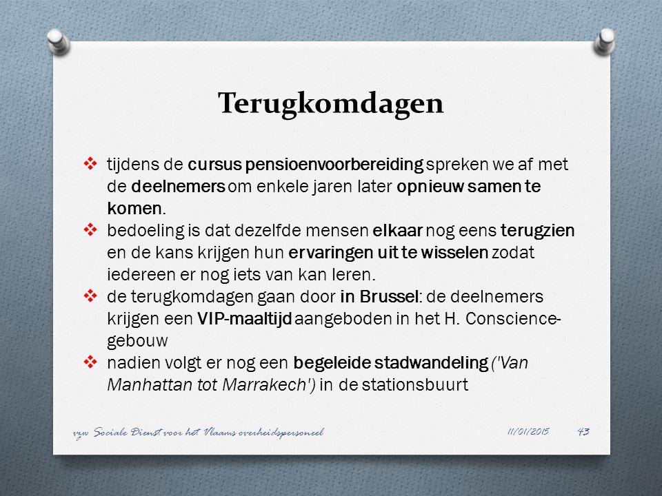 Terugkomdagen 11/01/2015 vzw Sociale Dienst voor het Vlaams overheidspersoneel43  tijdens de cursus pensioenvoorbereiding spreken we af met de deelne