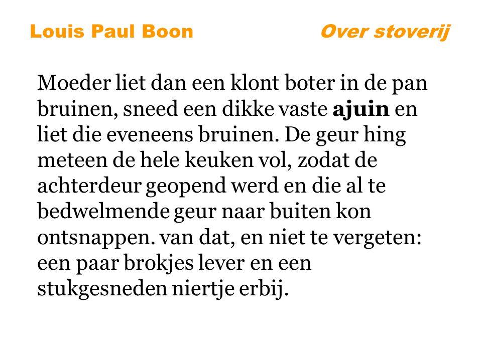 Louis Paul BoonOver stoverij Moeder liet dan een klont boter in de pan bruinen, sneed een dikke vaste ajuin en liet die eveneens bruinen.