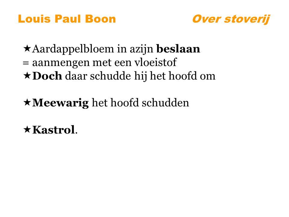 Louis Paul BoonOver stoverij  Aardappelbloem in azijn beslaan = aanmengen met een vloeistof  Doch daar schudde hij het hoofd om  Meewarig het hoofd schudden  Kastrol.