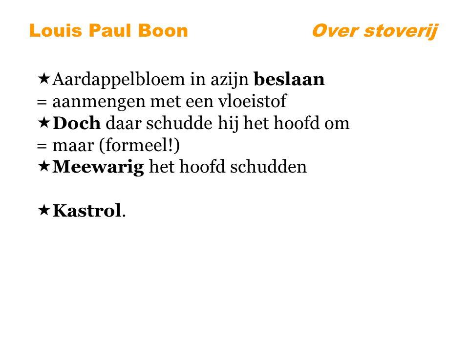 Louis Paul BoonOver stoverij  Aardappelbloem in azijn beslaan = aanmengen met een vloeistof  Doch daar schudde hij het hoofd om = maar (formeel!)  Meewarig het hoofd schudden  Kastrol.