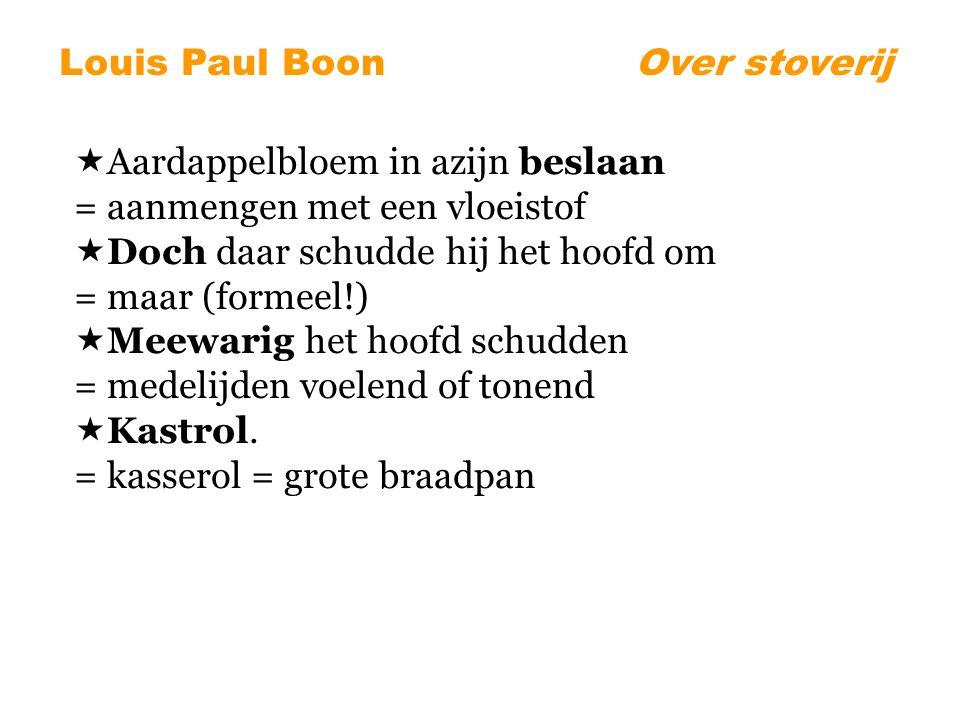 Louis Paul BoonOver stoverij  Aardappelbloem in azijn beslaan = aanmengen met een vloeistof  Doch daar schudde hij het hoofd om = maar (formeel!)  Meewarig het hoofd schudden = medelijden voelend of tonend  Kastrol.