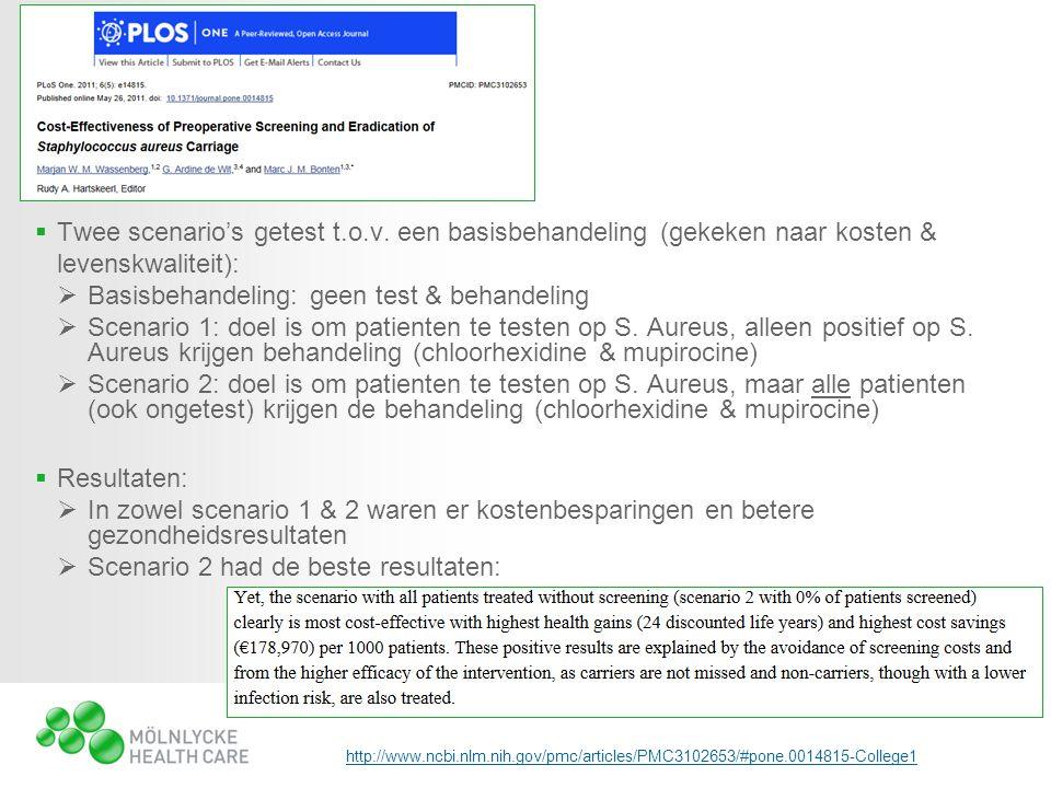  Twee scenario's getest t.o.v. een basisbehandeling (gekeken naar kosten & levenskwaliteit):  Basisbehandeling: geen test & behandeling  Scenario 1