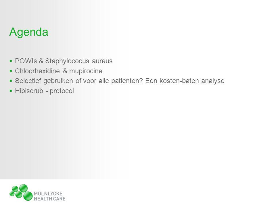 Agenda  POWIs & Staphylococus aureus  Chloorhexidine & mupirocine  Selectief gebruiken of voor alle patienten.