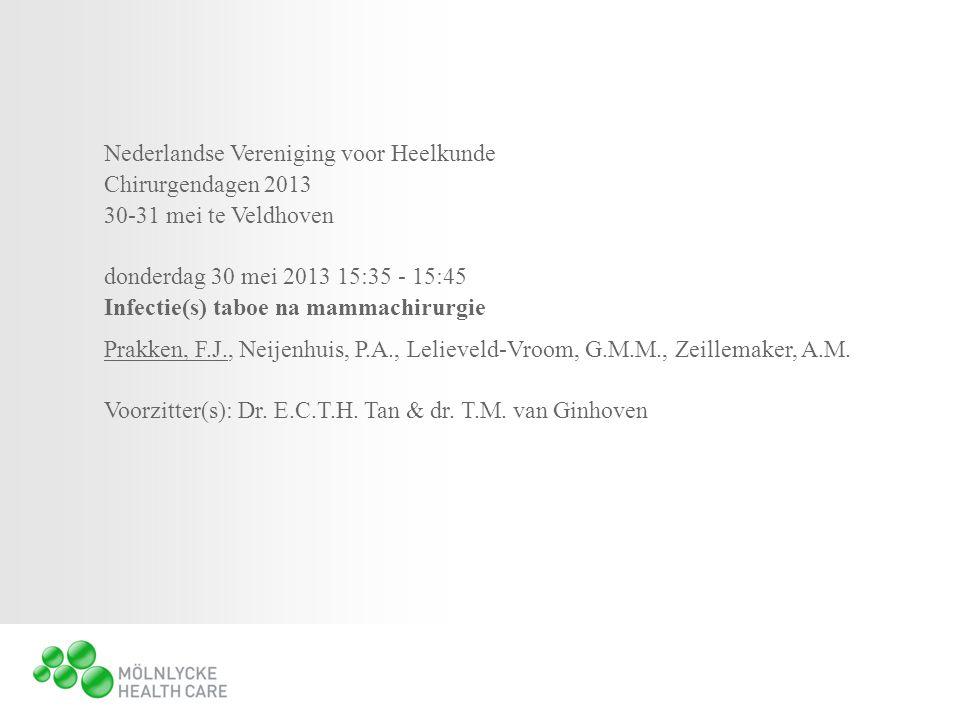 Nederlandse Vereniging voor Heelkunde Chirurgendagen 2013 30-31 mei te Veldhoven donderdag 30 mei 2013 15:35 - 15:45 Infectie(s) taboe na mammachirurgie Prakken, F.J., Neijenhuis, P.A., Lelieveld-Vroom, G.M.M., Zeillemaker, A.M.
