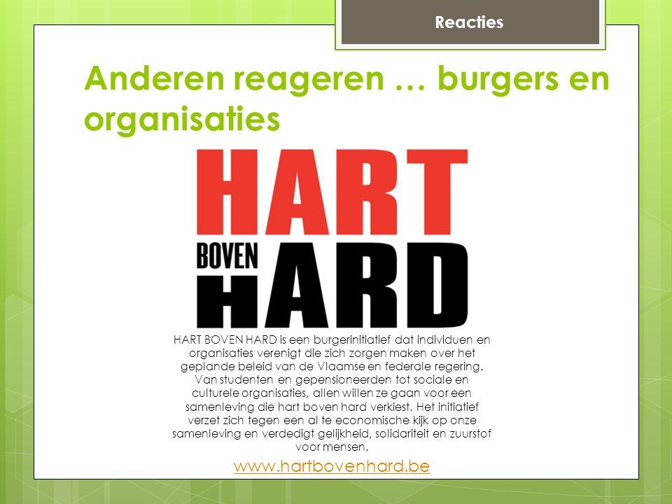 www.hartbovenhard.be HART BOVEN HARD is een burgerinitiatief dat individuen en organisaties verenigt die zich zorgen maken over het geplande beleid van de Vlaamse en federale regering.