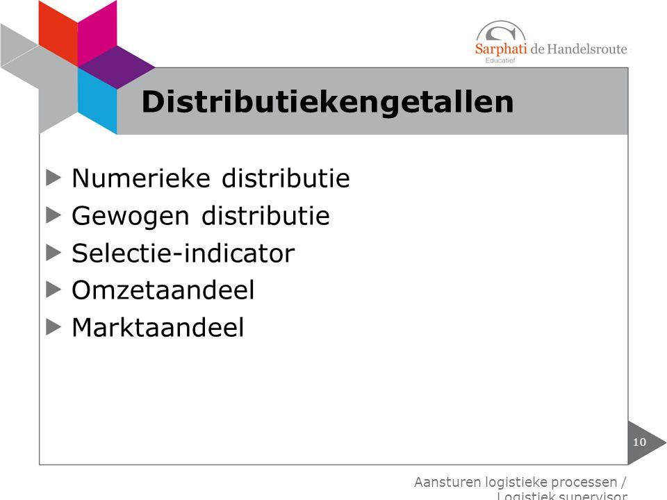 Numerieke distributie Gewogen distributie Selectie-indicator Omzetaandeel Marktaandeel 10 Aansturen logistieke processen / Logistiek supervisor Distri