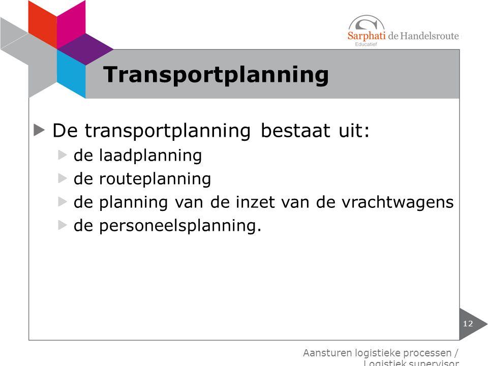 De transportplanning bestaat uit: de laadplanning de routeplanning de planning van de inzet van de vrachtwagens de personeelsplanning. 12 Aansturen lo