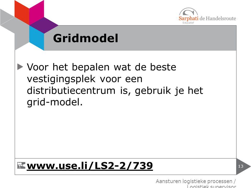 Voor het bepalen wat de beste vestigingsplek voor een distributiecentrum is, gebruik je het grid-model. 13 Aansturen logistieke processen / Logistiek