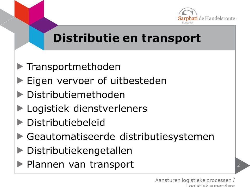 Transportmethoden Eigen vervoer of uitbesteden Distributiemethoden Logistiek dienstverleners Distributiebeleid Geautomatiseerde distributiesystemen Di