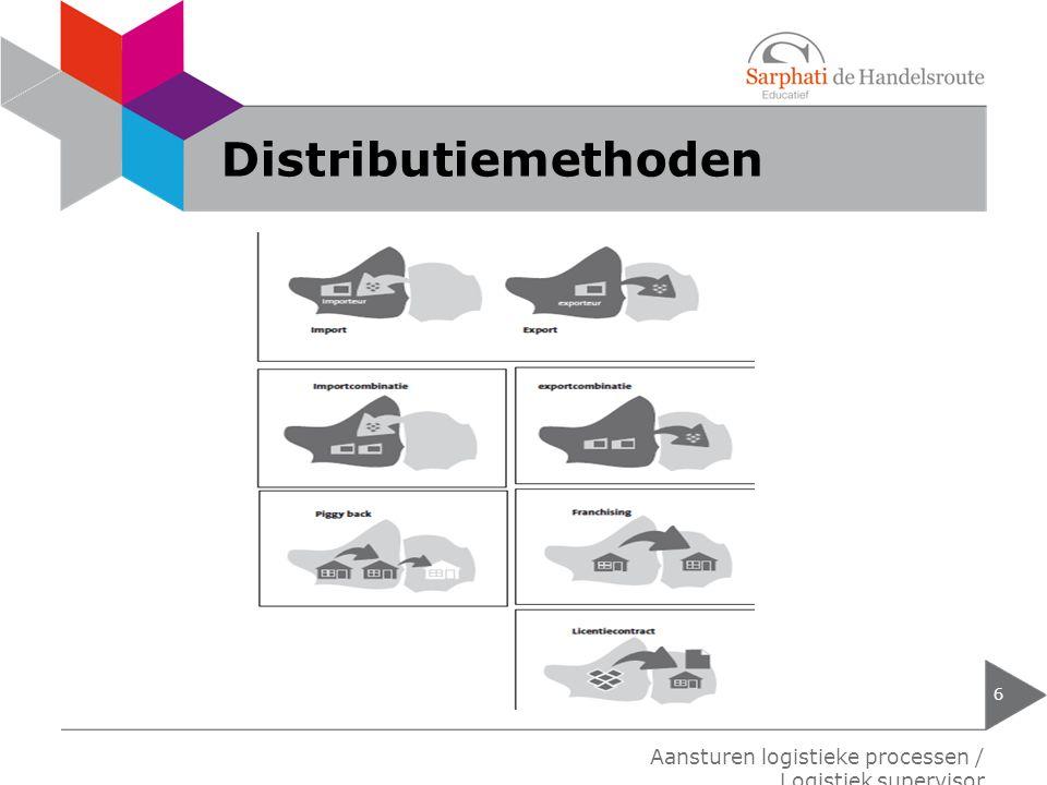 Distributiemethoden 6 Aansturen logistieke processen / Logistiek supervisor