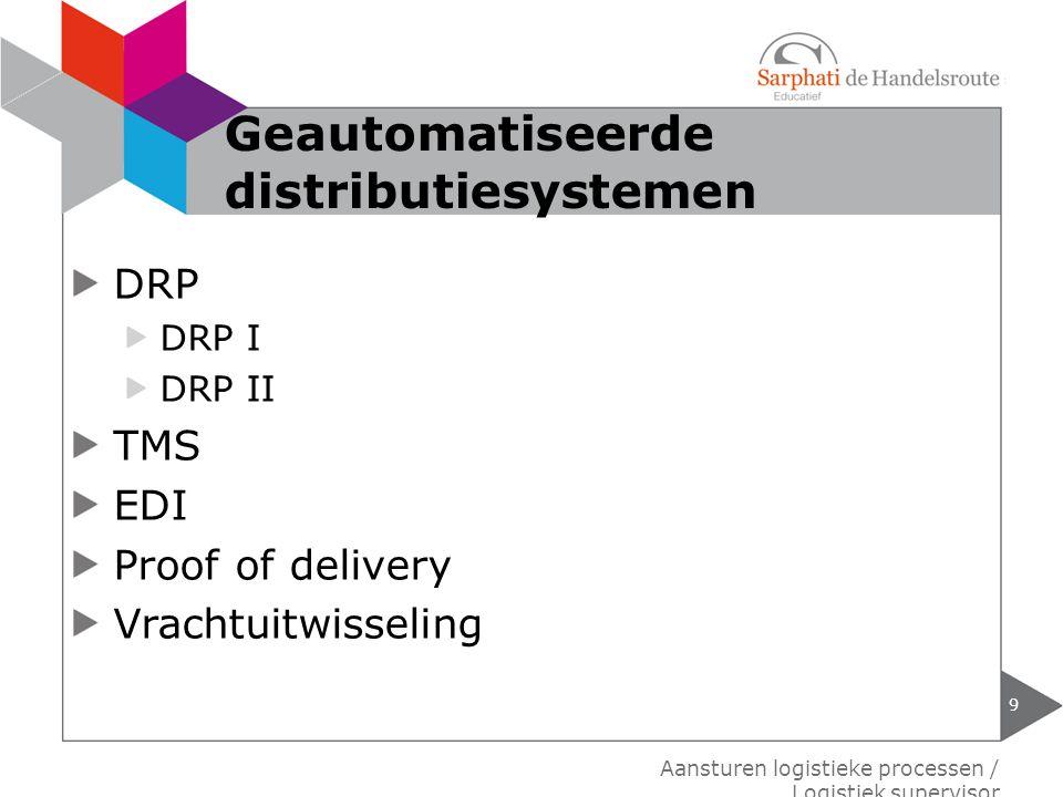 DRP DRP I DRP II TMS EDI Proof of delivery Vrachtuitwisseling 9 Aansturen logistieke processen / Logistiek supervisor Geautomatiseerde distributiesyst