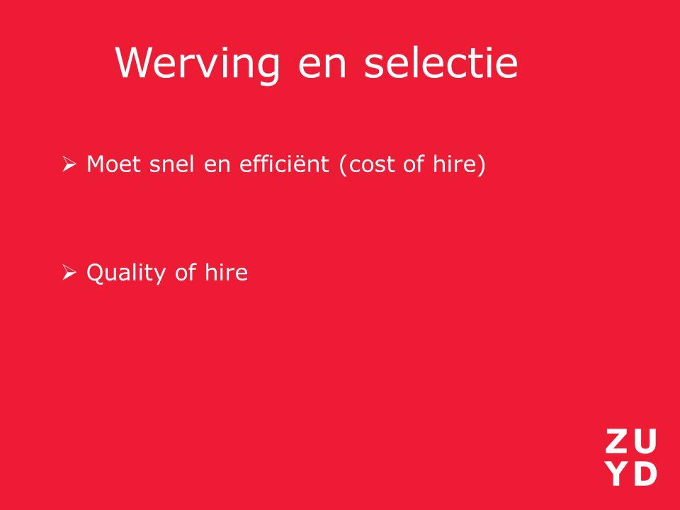 Werving en selectie  Moet snel en efficiënt (cost of hire)  Quality of hire