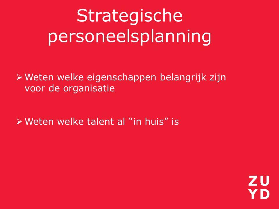 """Strategische personeelsplanning  Weten welke eigenschappen belangrijk zijn voor de organisatie  Weten welke talent al """"in huis"""" is"""