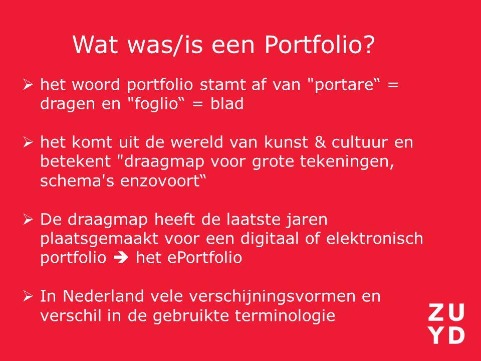 Wat was/is een Portfolio?  het woord portfolio stamt af van