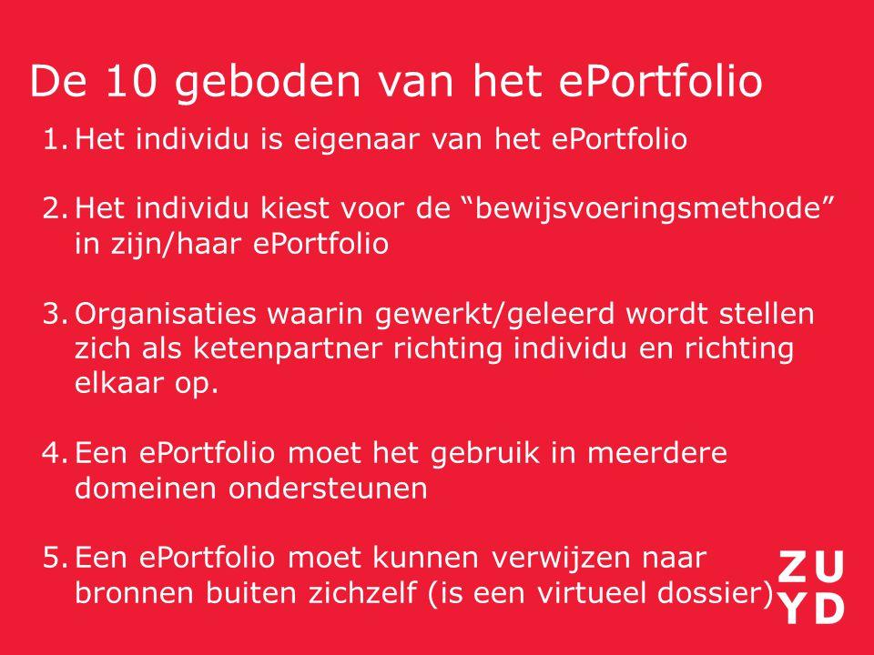 """De 10 geboden van het ePortfolio 1.Het individu is eigenaar van het ePortfolio 2.Het individu kiest voor de """"bewijsvoeringsmethode"""" in zijn/haar ePort"""