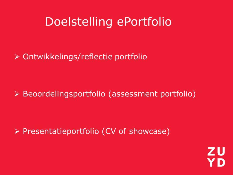 Doelstelling ePortfolio  Ontwikkelings/reflectie portfolio  Beoordelingsportfolio (assessment portfolio)  Presentatieportfolio (CV of showcase)