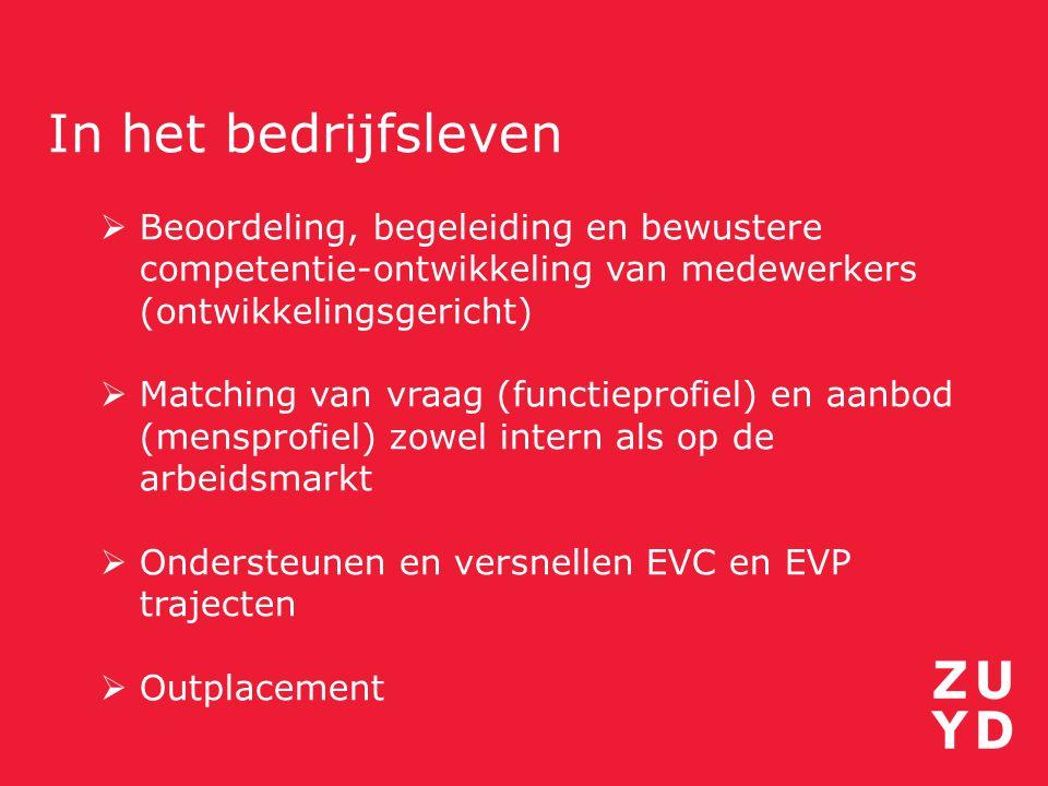 In het bedrijfsleven  Beoordeling, begeleiding en bewustere competentie-ontwikkeling van medewerkers (ontwikkelingsgericht)  Matching van vraag (fun