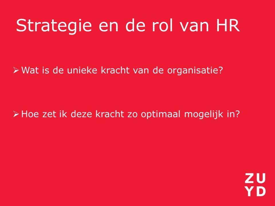 Strategie en de rol van HR  Wat is de unieke kracht van de organisatie?  Hoe zet ik deze kracht zo optimaal mogelijk in?