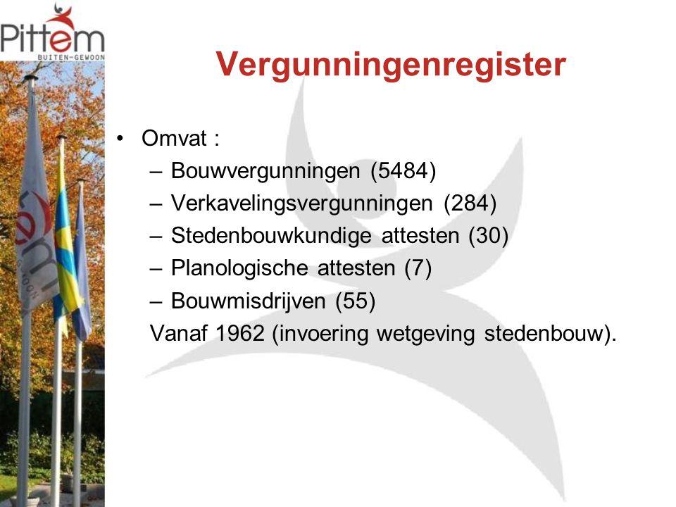 Vergunningenregister Omvat : –Bouwvergunningen (5484) –Verkavelingsvergunningen (284) –Stedenbouwkundige attesten (30) –Planologische attesten (7) –Bouwmisdrijven (55) Vanaf 1962 (invoering wetgeving stedenbouw).