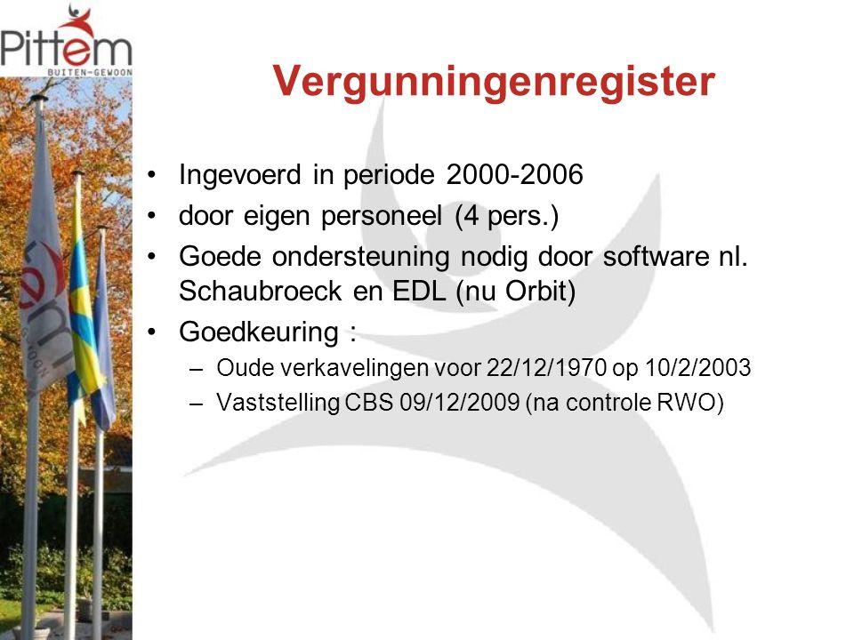 Ingevoerd in periode 2000-2006 door eigen personeel (4 pers.) Goede ondersteuning nodig door software nl. Schaubroeck en EDL (nu Orbit) Goedkeuring :