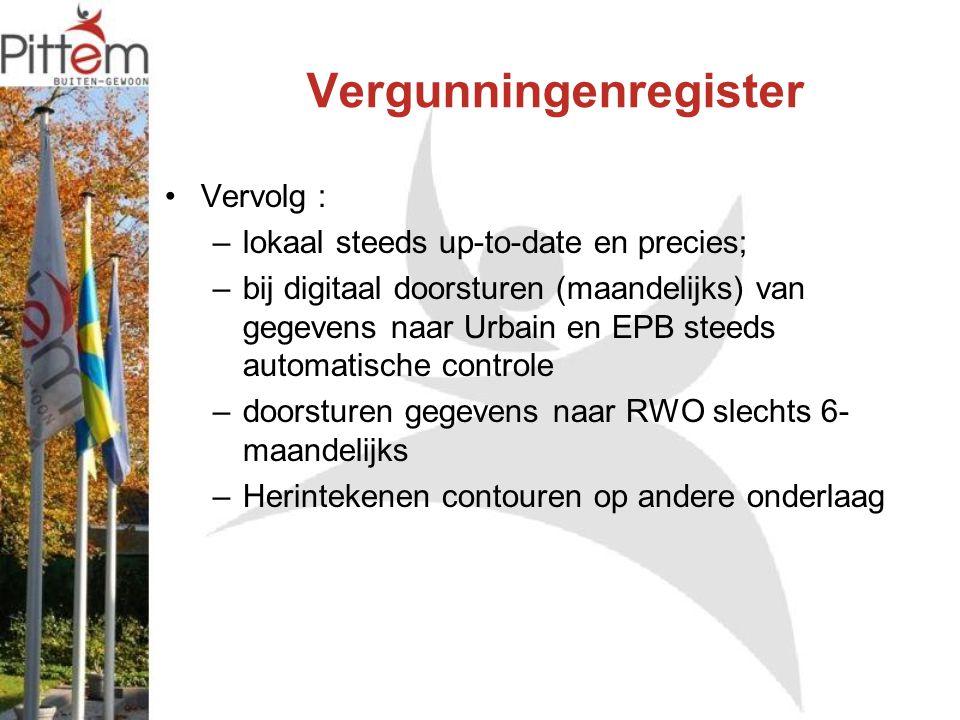 Vergunningenregister Vervolg : –lokaal steeds up-to-date en precies; –bij digitaal doorsturen (maandelijks) van gegevens naar Urbain en EPB steeds aut