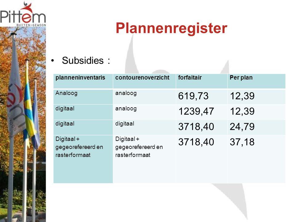 Plannenregister Subsidies : planneninventariscontourenoverzichtforfaitairPer plan Analoog analoog 619,7312,39 digitaal analoog 1239,4712,39 digitaal 3718,4024,79 Digitaal + gegeorefereerd en rasterformaat 3718,4037,18
