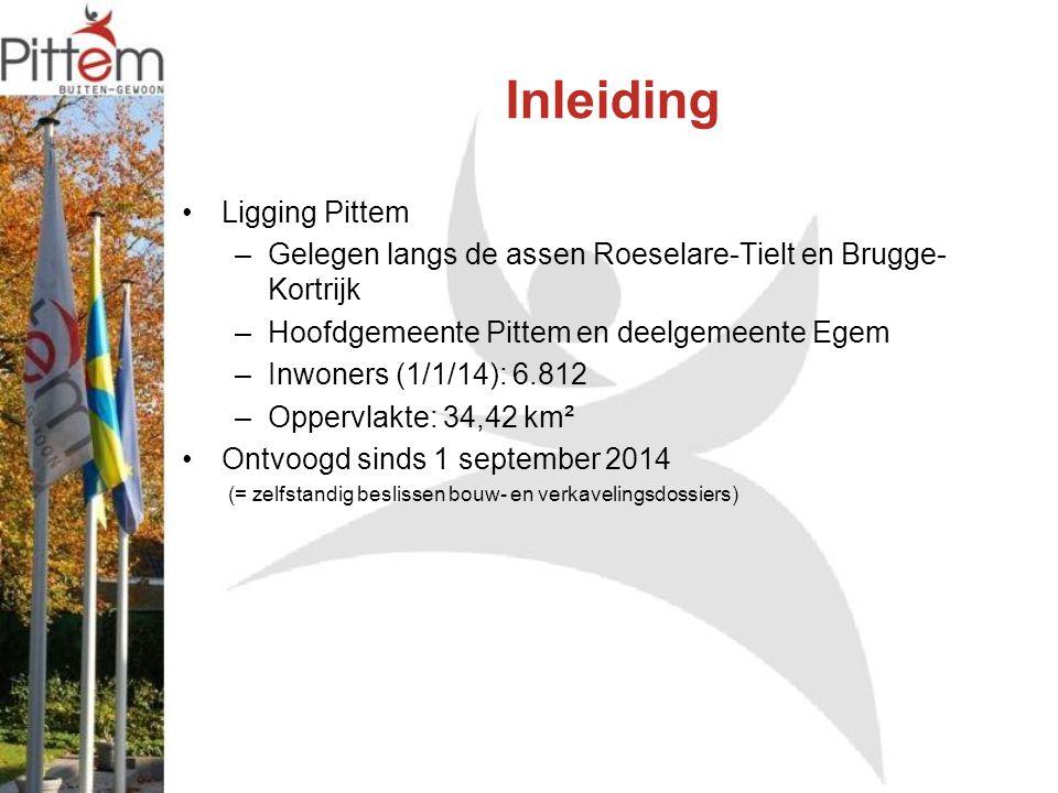 Inleiding Ligging Pittem –Gelegen langs de assen Roeselare-Tielt en Brugge- Kortrijk –Hoofdgemeente Pittem en deelgemeente Egem –Inwoners (1/1/14): 6.812 –Oppervlakte: 34,42 km² Ontvoogd sinds 1 september 2014 (= zelfstandig beslissen bouw- en verkavelingsdossiers)