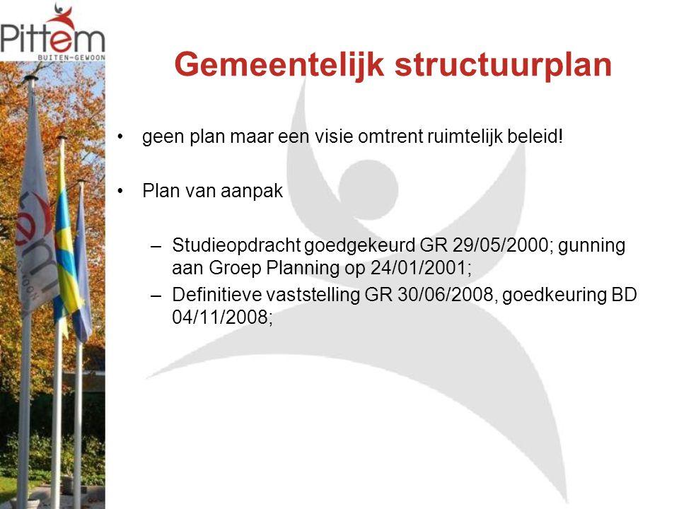 Gemeentelijk structuurplan geen plan maar een visie omtrent ruimtelijk beleid! Plan van aanpak –Studieopdracht goedgekeurd GR 29/05/2000; gunning aan