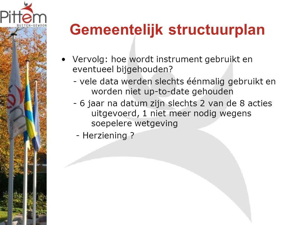 Gemeentelijk structuurplan Vervolg: hoe wordt instrument gebruikt en eventueel bijgehouden.