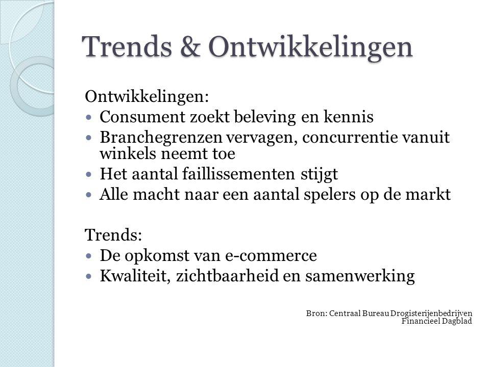 Trends & Ontwikkelingen Ontwikkelingen: Consument zoekt beleving en kennis Branchegrenzen vervagen, concurrentie vanuit winkels neemt toe Het aantal f