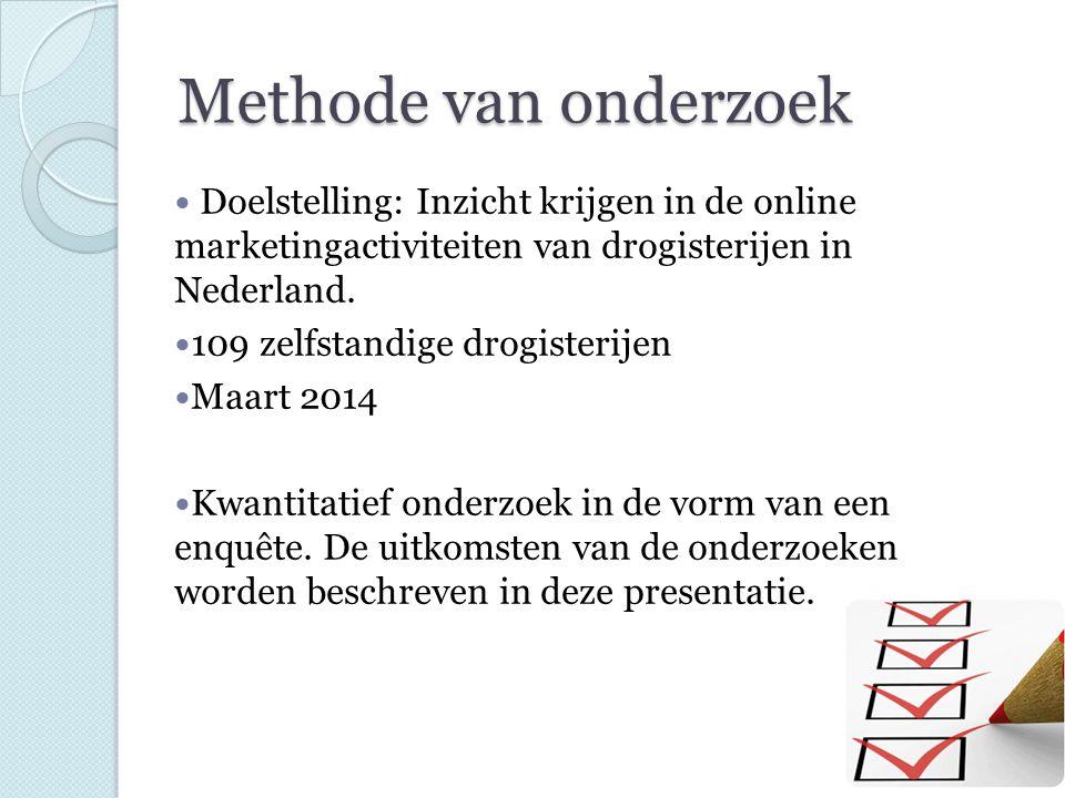 Methode van onderzoek Doelstelling: Inzicht krijgen in de online marketingactiviteiten van drogisterijen in Nederland. 109 zelfstandige drogisterijen