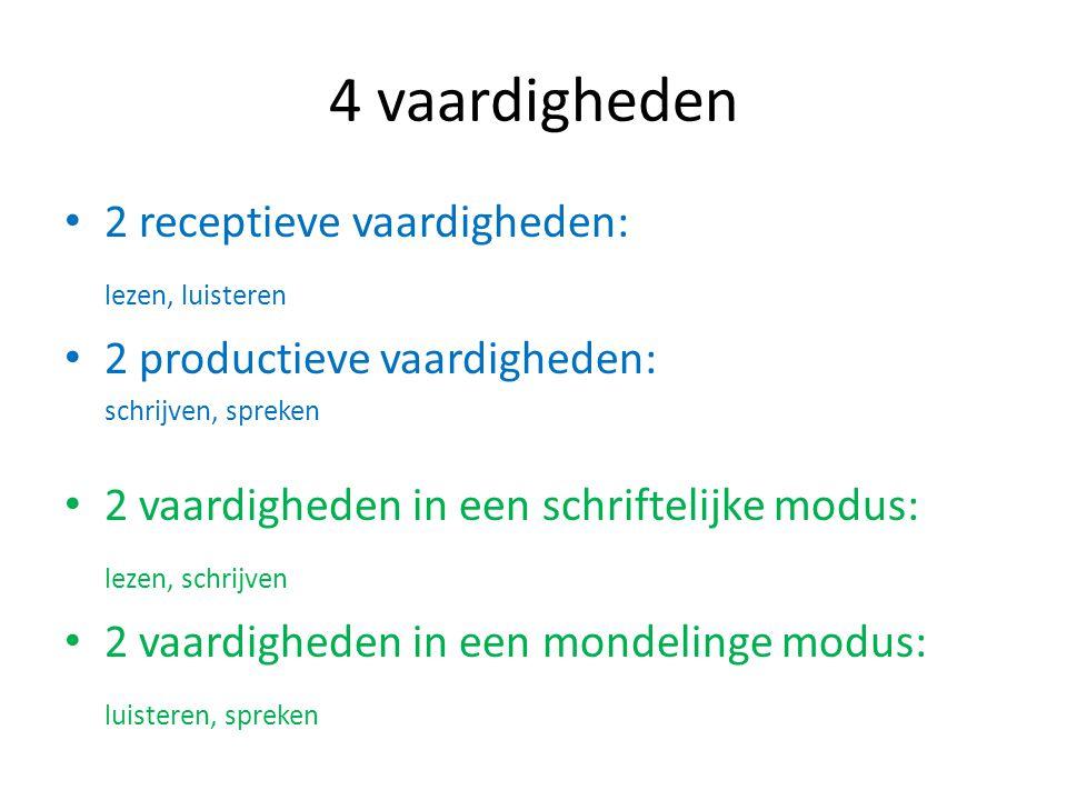 2 receptieve vaardigheden: lezen, luisteren 2 productieve vaardigheden: schrijven, spreken 2 vaardigheden in een schriftelijke modus: lezen, schrijven