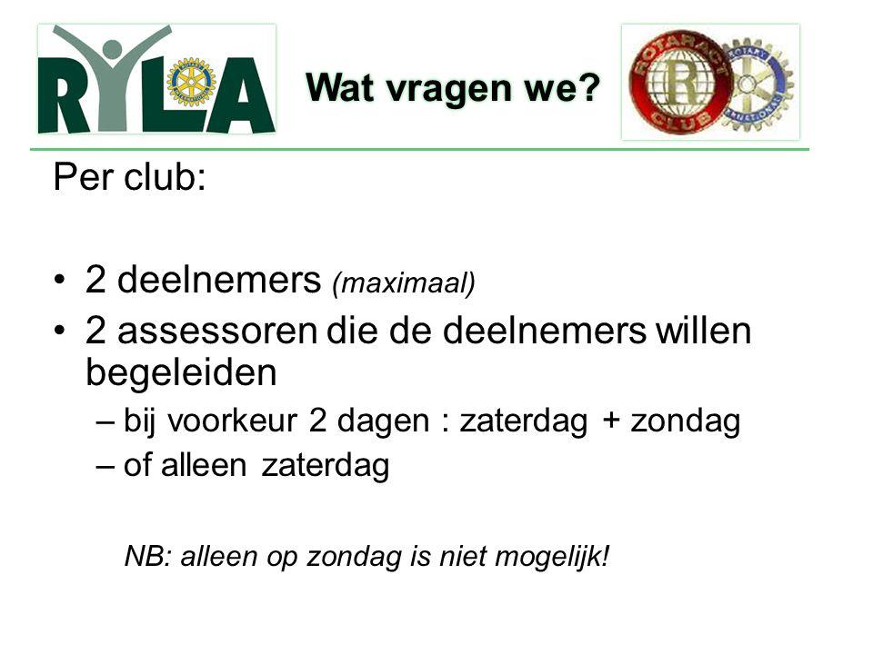 Per club: 2 deelnemers (maximaal) 2 assessoren die de deelnemers willen begeleiden –bij voorkeur 2 dagen : zaterdag + zondag –of alleen zaterdag NB: a