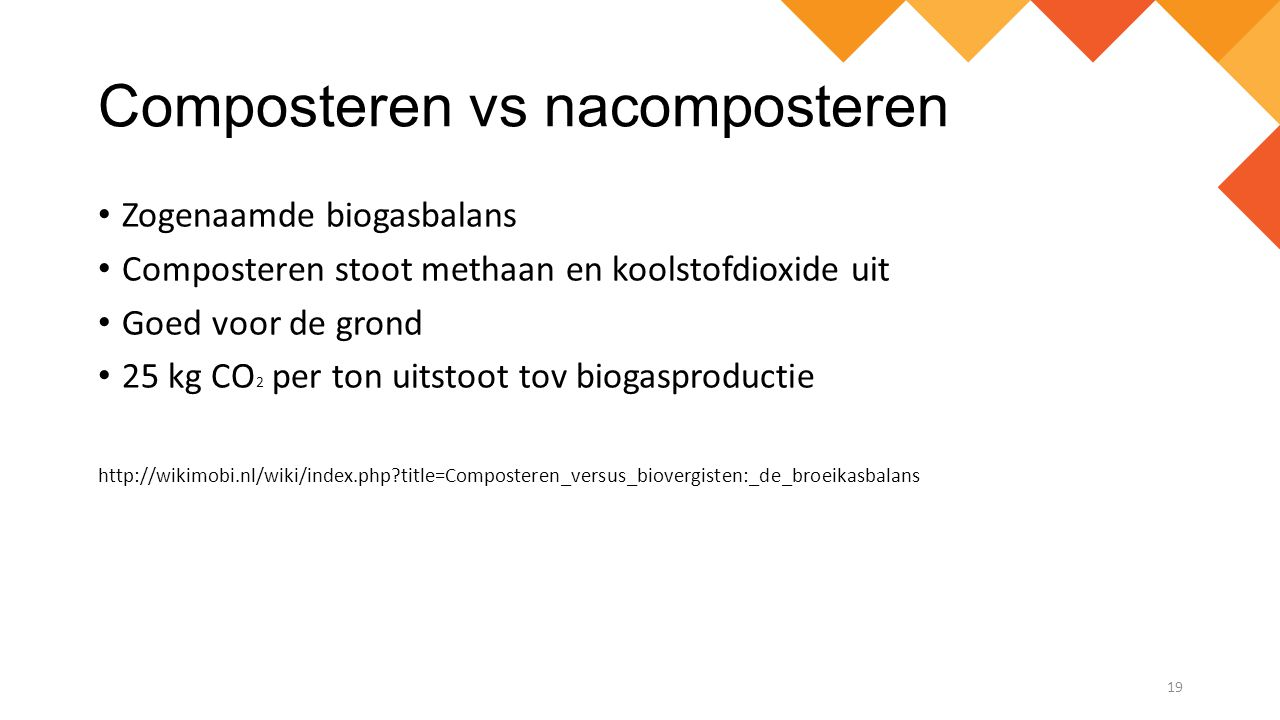 Composteren vs nacomposteren Zogenaamde biogasbalans Composteren stoot methaan en koolstofdioxide uit Goed voor de grond 25 kg CO 2 per ton uitstoot t