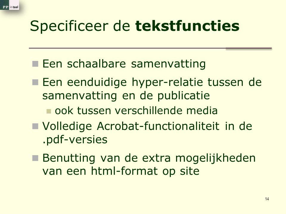 Specificeer de tekstfuncties Een schaalbare samenvatting Een eenduidige hyper-relatie tussen de samenvatting en de publicatie ook tussen verschillende media Volledige Acrobat-functionaliteit in de.pdf-versies Benutting van de extra mogelijkheden van een html-format op site 14