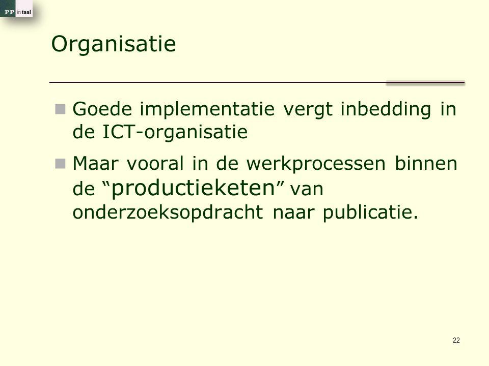 Organisatie Goede implementatie vergt inbedding in de ICT-organisatie Maar vooral in de werkprocessen binnen de productieketen van onderzoeksopdracht naar publicatie.