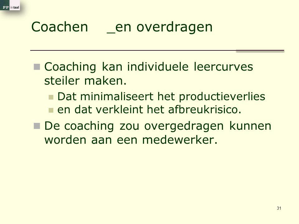 Coachen _en overdragen Coaching kan individuele leercurves steiler maken.