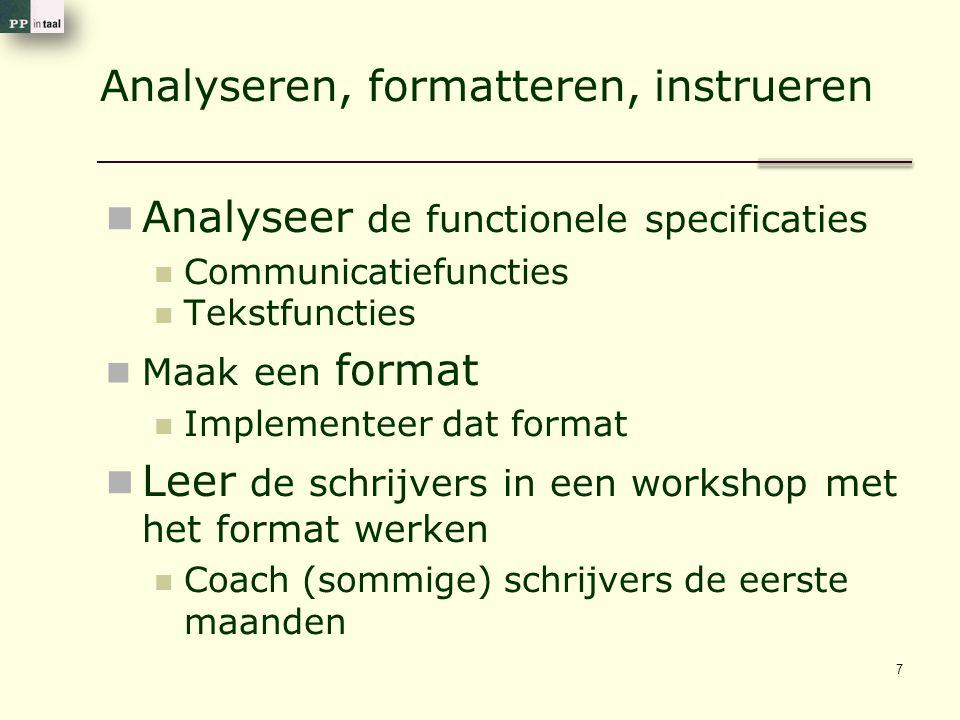 Voorbeeld van een format (wel een beetje algemeen nog) Wat is de onderzoeksvraag Wat zijn de subvragen Wat is het antwoord Wat is de belangrijkste onderbouwing: Inhoudelijk Methodologisch Voor de doelgroep 18
