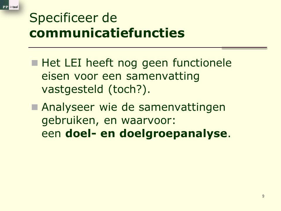 Specificeer de communicatiefuncties 9 Het LEI heeft nog geen functionele eisen voor een samenvatting vastgesteld (toch ).