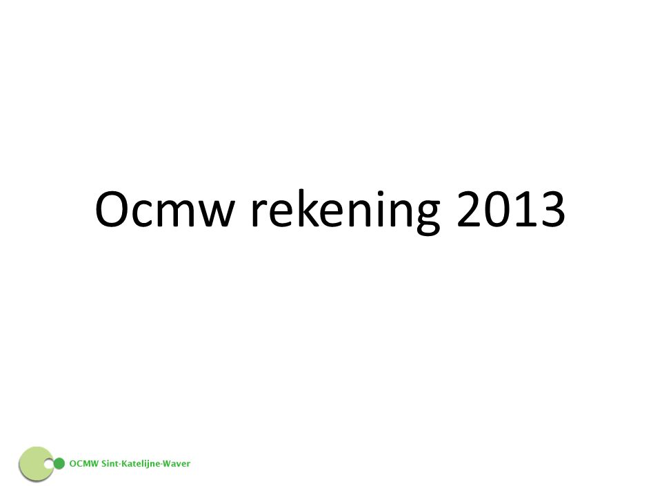 Ocmw rekening 2013